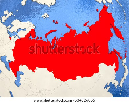 Russia Red On Political Map Watery Stock Illustration 584826055 ...