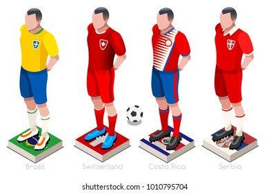 Russia Soccer world cup 2018 group C players with team shirts flags and ball. Isometric football  illustration.