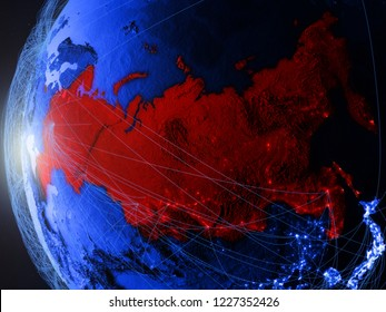 Russia from space on blue digital model of Earth with international network. Concept of blue digital communication or travel. 3D illustration. Elements of this image furnished by NASA.