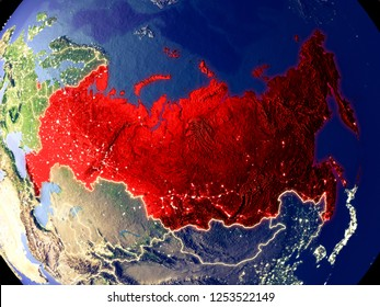 Russia from space on Earth at night. Very fine detail of the plastic planet surface with bright city lights. 3D illustration. Elements of this image furnished by NASA.