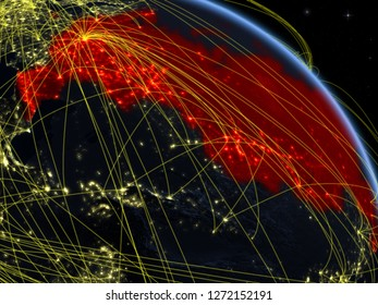 Russia from space on model of planet Earth at night with network. Concept of digital technology, connectivity and travel. 3D illustration. Elements of this image furnished by NASA.