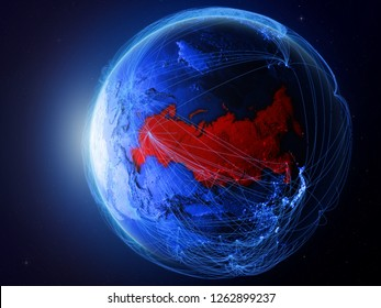 Russia from space on planet Earth with blue digital network representing international communication, technology and travel. 3D illustration. Elements of this image furnished by NASA.