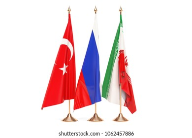 Russia, Turkey and Iran meeting concept, 3D rendering isolated on white background
