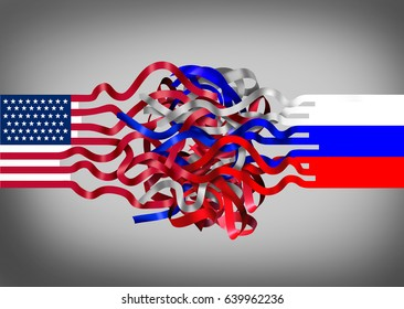 Russia United States crisis as an American flag entangled with a russian symbol as a political and diplomatic challenge concept as a 3D illustration.