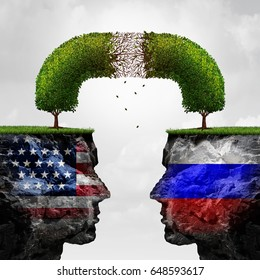 Russia United States relations problem as Russian and American political crisis symbol as a degrading tree as failing diplomatic relationship of Moscow and Washington with 3D illustration elements.
