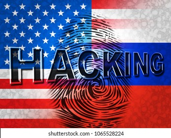 Russia Usa Flag And Fingerprint Showing Hacking 3d Illustration. Cyber Crime  Criminal Campaign by Russian Government To Hack Elections In The USA Using Illegal Online Spying.