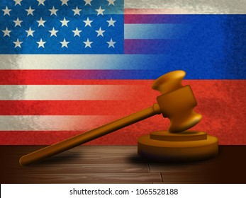 Russia Usa Flags With Gavel Hacking 3d Illustration. Cyber Crime  Criminal Campaign by Russian Government To Hack Elections In The USA Using Illegal Online Spying.