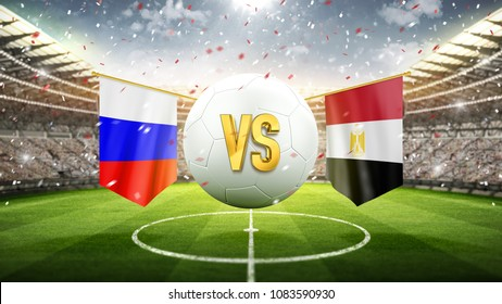 Russia vs Egypt. Soccer concept. White soccer ball with the flag in the stadium, 2018. 3d render