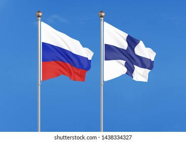 Russia vs Finland. Thick colored silky flags of Russia and Finland. 3D illustration on sky background. – Illustration