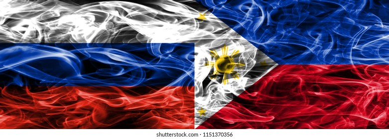 Russia vs Philipines smoke flags placed side by side