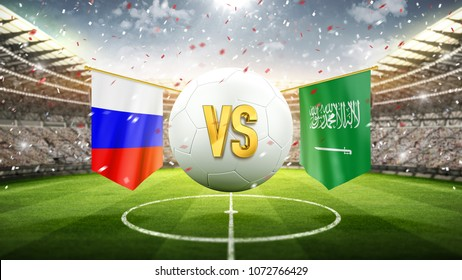 Russia vs Saudi Arabia. Soccer concept. White soccer ball with the flag in the stadium, 2018. 3d render