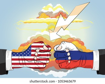 Russia vs USA, Two Fists In Impact, Nuclear explosion bright orange fiery mushroom cloud cap. Raster version