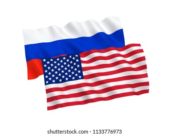 Russian and American waving flags isolated on white background. 3d rendering illustration.