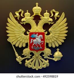Russian Coat 3d model rendering in gold color