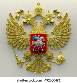 Russian coat of arms in gold on a white background. 3d render