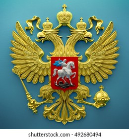 Russian coat of arms in gold on a blue background. 3d render