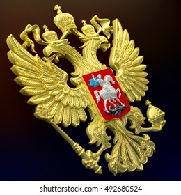 Russian coat of arms in gold on a black background. 3d render