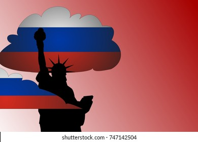 RUSSIAN COLLUSION CONCEPT. Illustration showing a silhouette of the statue of liberty with clouds of Russian flags surrounding it.