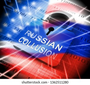 Russian Collusion During Election Campaign Padlock Means Corrupt Politics In America 3d Illustration. Conspiracy In A Democracy Allows Blackmail Or Fraud