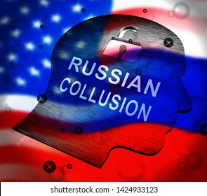Russian Collusion During Election Campaign Depicts Corrupt Politics In America 3d Illustration. Conspiracy In A Democracy Allows Blackmail Or Fraud