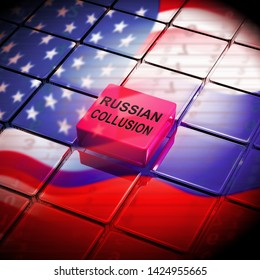 Russian Collusion During Election Campaign Button Means Corrupt Politics In America 3d Illustration. Conspiracy In A Democracy Allows Blackmail Or Fraud