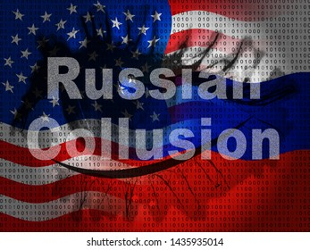 Russian Collusion During Election Campaign Eye Means Corrupt Politics In America 3d Illustration. Conspiracy In A Democracy Allows Blackmail Or Fraud