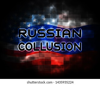 Russian Collusion During Election Campaign Pattern Means Corrupt Politics In America 3d Illustration. Conspiracy In A Democracy Allows Blackmail Or Fraud