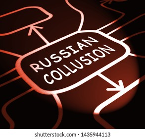 Russian Collusion During Election Campaign Diagram Means Corrupt Politics In America 3d Illustration. Conspiracy In A Democracy Allows Blackmail Or Fraud