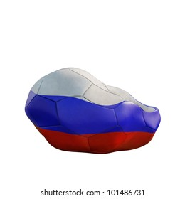 russian deflated soccer ball isolated on white
