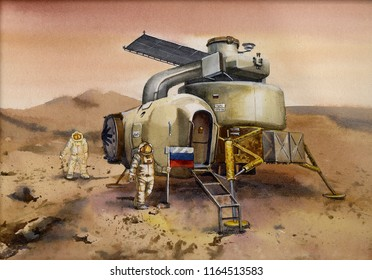 Russian Descent Module Landing on Planet Mars. Manned space exploration. Ilustration. Picture. Russian cosmonauts on Mars