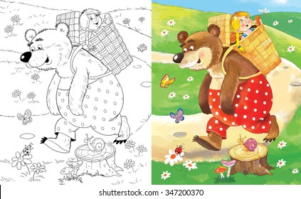 Russian fairy tale. Masha and the bear. Illustration for children. Coloring book. Cartoon characters