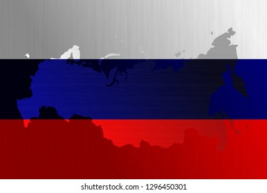 Russian flag with a contour of borders