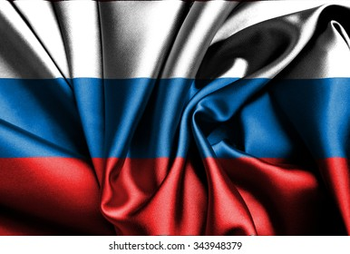 Russian flag on silk.