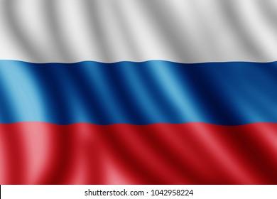 Russian flag, Realistic illustration