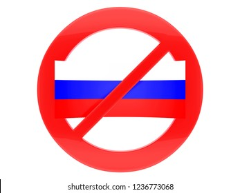 Russian flag and sign of prohibition.3d illustration