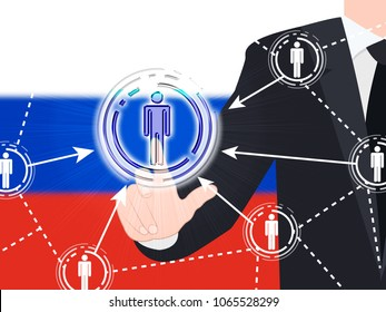 Russian Flag Social Media Button Pressed 3d Illustration. Russians Stealing Online Information By Spying And Tampering On Digital Network.