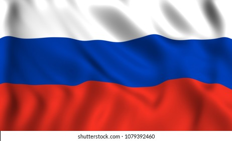 Russian flag waving in the wind silk