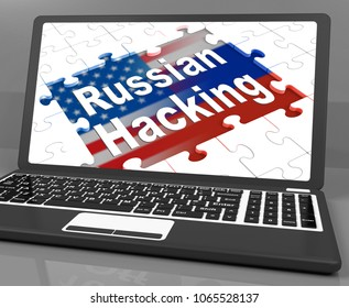Russian Hacking Jigsaw Message On Laptop 3d Illustration. American Democratic Political Campaign Hacked By Online Cyber Criminals.