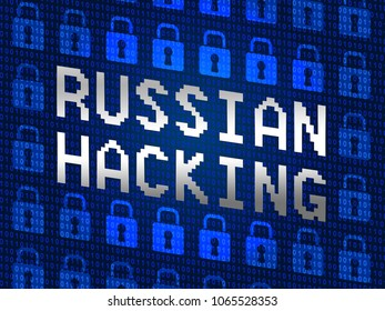 Russian Hacking Locks Showing Election Data 3d Illustration. American Democratic Political Campaign Hacked By Online Cyber Criminals.