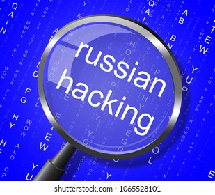 Russian Hacking Magnifier Showing Elections Hacked 3d Illustration. American Democratic Political Campaign Hacked By Online Cyber Criminals.