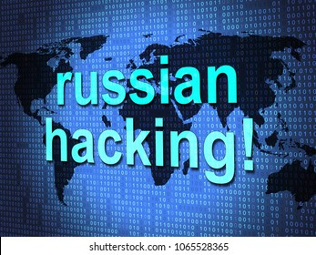 Russian Hacking Map Showing Election Data 3d Illustration. American Democratic Political Campaign Hacked By Online Cyber Criminals.
