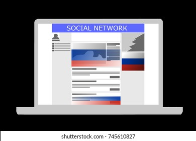Russian Influence in social media shown by an illustration of a social media with Russian-backed ads and posts. Background color is black.