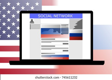 Russian Influence in social media shown by an illustration of a social media with Russian-backed ads and posts. Background are the flags of United States versus Russia.