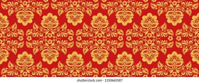 Russian khokhloma style repeat pattern in traditional red and gold colors. Classic hohloma seamless ornament. Floral art style