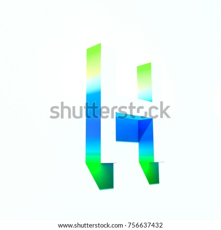 6df5a45cefbb Russian letter H with summer colorful abstract gradient shadow. 3d render  of medium font letter