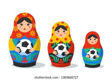 Russian Matrioshka set. Russia symbol with football ball. traditional russian nesting dolls with ball. Matroska icon on white background