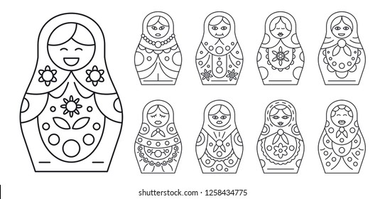 Russian matryoshka icon set. Outline set of russian matryoshka icons for web design isolated on white background