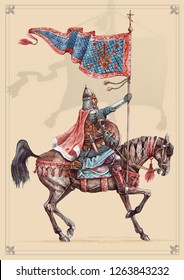 Russian medieval knight with banner, Peipus lake battle. Mounted knight illustration.