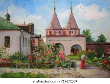 Russian monastery in summer, oil painting