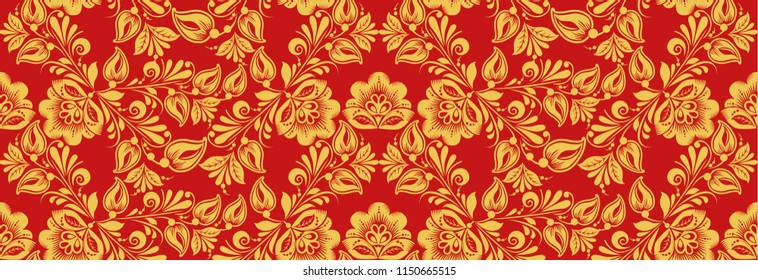 Russian national decor style, seamless pattern in traditional hohloma red and gold colors. Classic khokhloma ornament. Floral art
